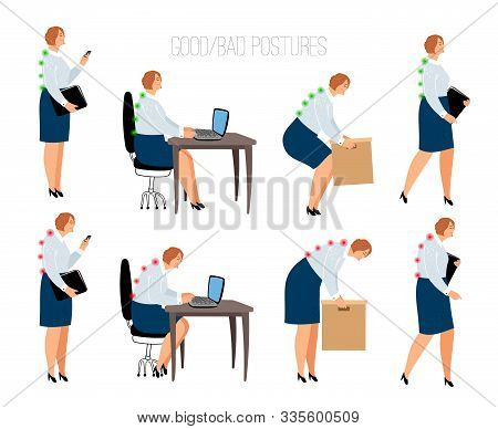 Ergonomic Woman Postures. Female Correct And Wrong Position At Work Desk And Box Lifting, Sitting An