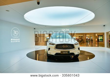 SHENZHEN, CHINA - CIRCA NOVEMBER, 2019: a compact luxury crossover Infiniti QX50 on display at Wongtee Plaza shopping mall. Infiniti is the luxury vehicle division of Japanese automaker Nissan.