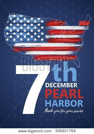 Pearl Harbor, Hawaii Remembrance Day Celebrated 7th Of December In Usa Banner. National Patriotic Ev