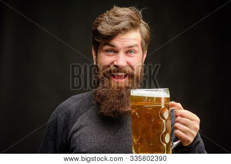 Happy Bearded Man Drinking Beer. Pub. Bar. Alcohol. Beer In Germany. Germany Traditions. Craft Beer.
