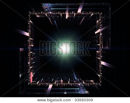 Interplay of perspective fractal grids lights mathematical line patterns on the subject of modern technologies science of energy signal processing music and entertainment poster