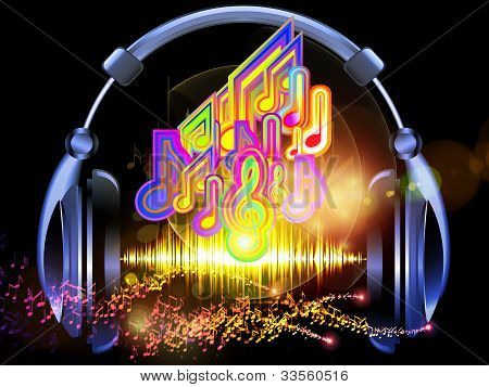 poster of Interplay of headphones musical notes abstract design elements colors and lights on the subject of music sound audiophile performance song party and entertainment