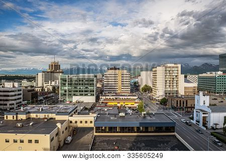 Anchorage, Alaska - June 4 - A Scenic View Of The City With Buildings And Streets On June 4 2019 In