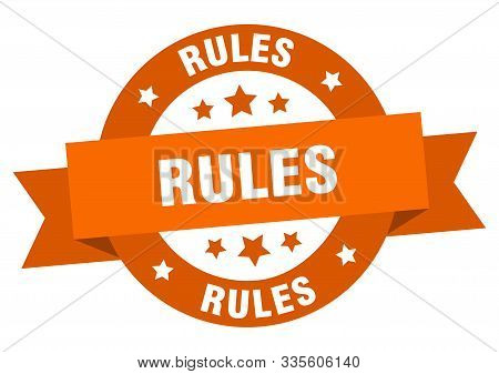 Rules Ribbon. Rules Round Orange Sign. Rules
