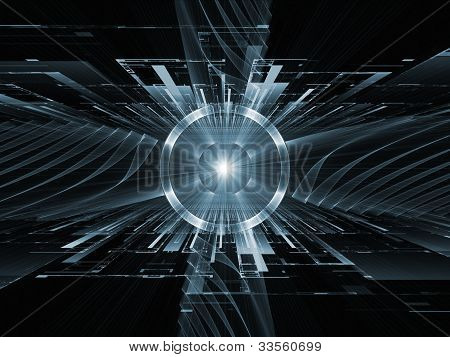 Composition of perspective fractal grids lights mathematical wave and sine patterns on the subject of modern technologies science of energy signal processing music and entertainment poster