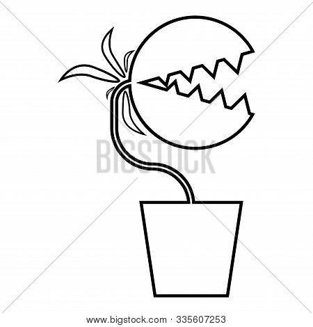 Carnivorous Plant Flytrap Monster With Teeths In Pot Icon Outline Black Color Vector Illustration Fl