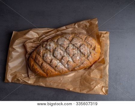 Freshly Baked Bread On Paper Zero Waste Bags, Brown Whole Fresh Bread