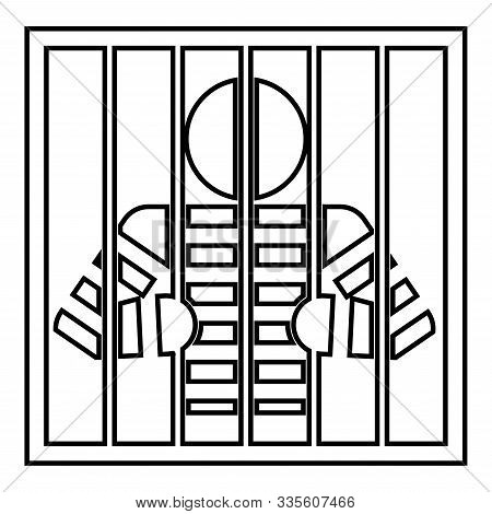 Prisoner Behind Bars Holds Rods With His Hands Angry Man Watch Through Lattice In Jail Incarceration