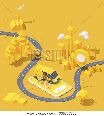 Vector Parcel And Mail Delivery Service And Tracking App Illustration, Smartphone With Yellow Delive