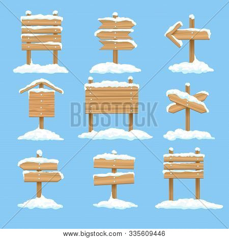 Snowy Signboards. Winter Wooden Signs, Wood Christmas Direction Arrows, Vector Xmas Snow Covered Ban