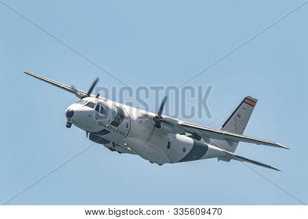 Torre Del Mar, Malaga, Spain-jul 14:  Aircraft Casa C-235 Of Guardia Civil Taking Part In A Exhibiti