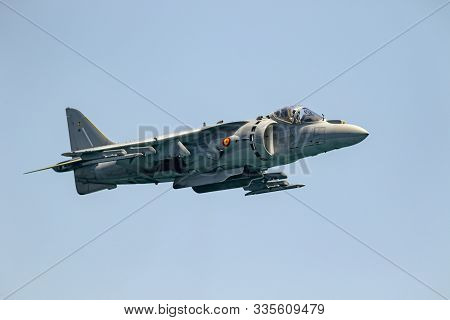 Torre Del Mar, Malaga, Spain-jul 14: Aircraft Av-8b Harrier Plus Taking Part In An Exhibition On The