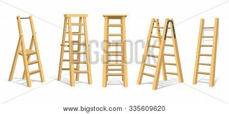 Wooden Stairs. Wood Ladders Or Staircase Set Isolated On White Background, Work Laddering Stepladder