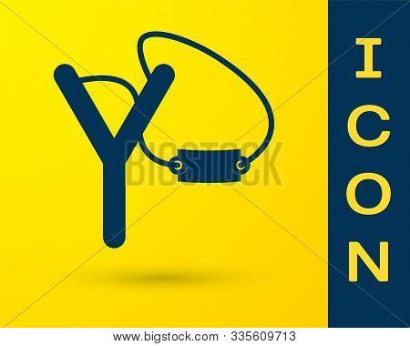 Blue Slingshot Icon Isolated On Yellow Background. Vector Illustration