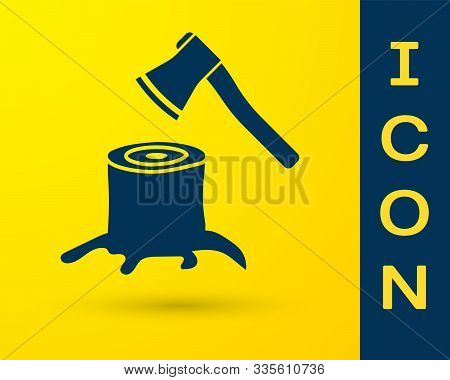 Blue Wooden Axe In Stump Icon Isolated On Yellow Background. Lumberjack Axe. Axe Stuck In Wood. Vect