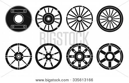 Wooden Wheel Vector Black Set Icon.vector Illustration Cart Of Wheel. Isolated Black Icon Cartwheel