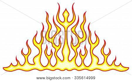 Vehicle Flames. Car And Bike Color Vinyl Decals For Hood, Vector Isolated. Hot Fire Decal Artwork, I