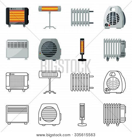 Vector Design Of Household And Appliances Symbol. Collection Of Household And Appliance Stock Symbol