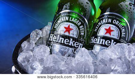 Bottles Of Heineken Beer In Bucket With Crushed Ice