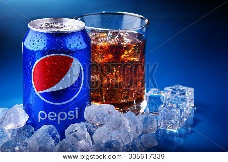 Can And Glass Of Pepsi With Crushed Ice
