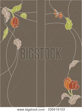 Stained-glass Panel In A Rectangular Frame. Classic Window, Abstract Floral Arrangement Of Buds And