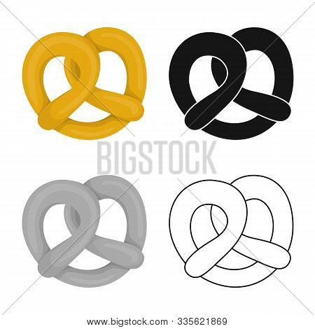 Vector Design Of Pretzel And Soft Sign. Collection Of Pretzel And German Vector Icon For Stock.