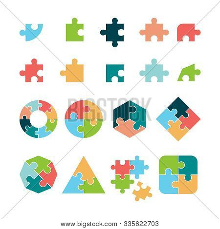 Puzzle Icon. Jigsaw Incomplete Pictogram Puzzle Geometrical Forms Vector Business Objects. Jigsaw Pu