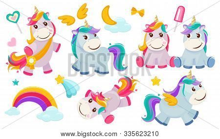 Magic Unicorns. Baby Little Fairytale Animals Pony Horse Pink Characters With Rainbows For Girls Vec