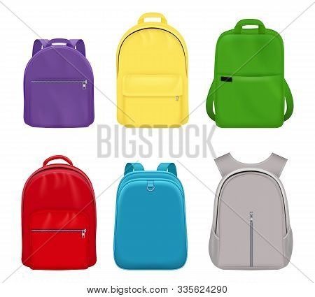 School Backpack. College Realistic Students Handy Items Luggage Travel Vector Collection Front Side.