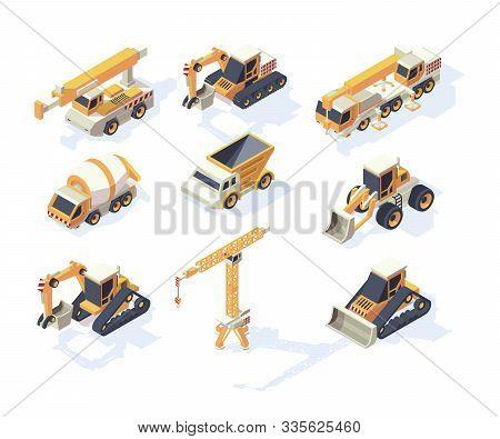 Vehicle Constructions. Big Cars Truck Van Crane Excavator Transporter 3d Machinery For Builders Vect