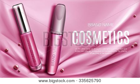 Lip Gloss And Mascara Tubes Mockup Banner Top View, Liquid Lipstick With Silver Cap Make Up Cosmetic