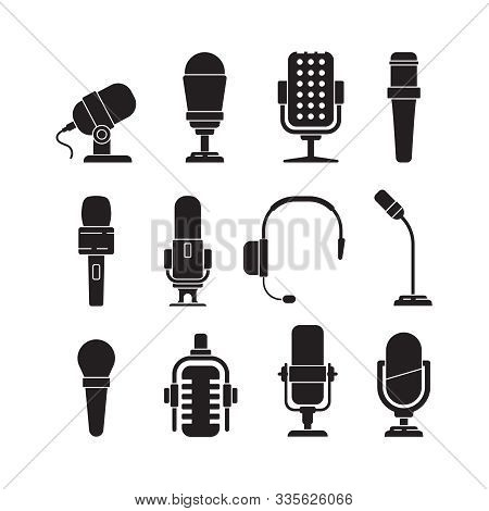Microphone Icons. Music Singer Items Conference Recorder For Journalists Interview Tools Vector Silh