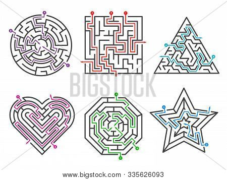 Game Maze. Labyrinth Collections Various Shapes With Many Entrance Gate Vector Set. Maze Game Comple