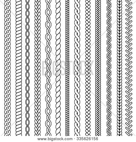 Plaits And Braids. Waves Knitted Drawing Ornamental Structures Textile Vector Seamless Collection. P