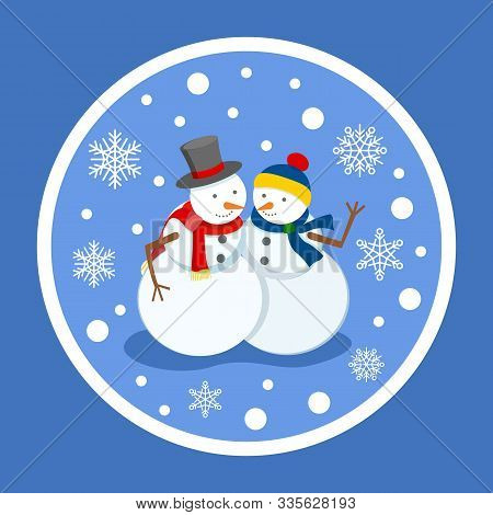 Male And Female Sculptures Made Of Snow, Isolated Winter Characters Under Snowfall. Snowflakes And B