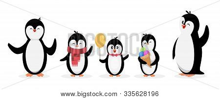 Happy Penguin Family. Penguins Isolated On White Background. Vector Cute Cartoon Character Animals S