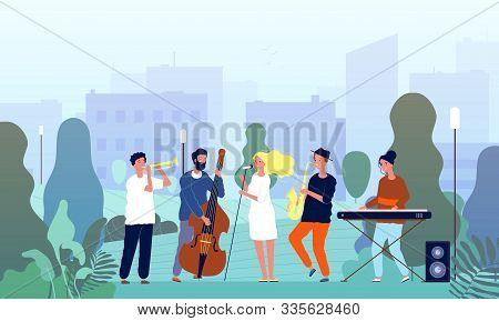 Musicians In Garden. Music Band Performing Show In Park Singers And Musical Players Trees Outdoor Ve