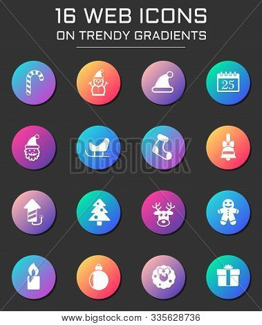 Christmass Icon Set. Christmass Web Icons On Round Trendy Gradients
