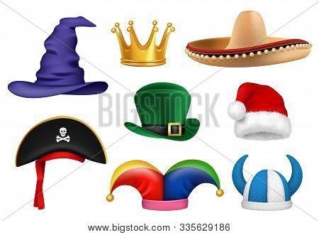 Carnival Hats. Masquerade Clothes Fabric Funny Hats Viking Sombrero Clown Santa Crown Party Celebrat