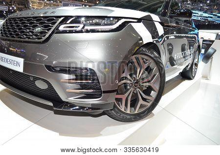 Geneva, Switzerland, March 06-2018: Range Rover Velar Vredestein At Gims