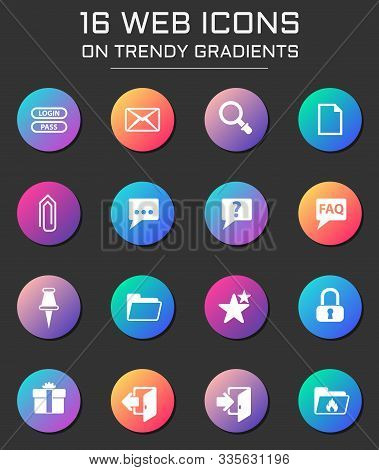 Forum Interface Icon Set. Forum Interface Web Icons On Round Trendy Gradients