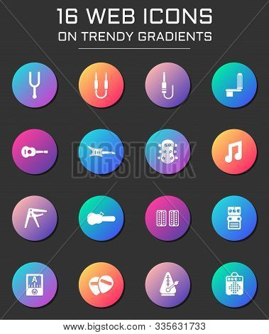 Guitar And Accessories Icon Set. Guitar And Accessories Web Icons On Round Trendy Gradients