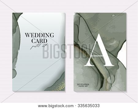 Vector Save The Date Card In Green And Gold Marble Splashes, Marble Tender Soft Grunge Watercolor Te