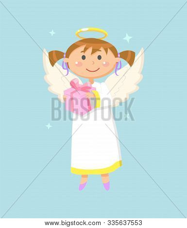 Christmas Or Valentine Day Symbol, Angel Girl With Gift Box, Wings And Halo Vector. Child Or Kid, He
