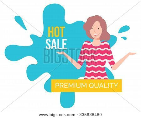 Hot Sale On Products Of Premium Quality Capture On Blue. Good Deal For People. Happy Brunette Girl O
