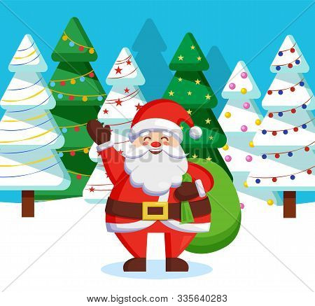 Santa Claus Standing With Green Sack Of Presents For Children In Forest. Christmas Time In December,