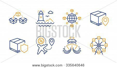 Delivery Insurance, Flight Sale And Logistics Network Line Icons Set. Ship, Parcel Tracking And Ligh