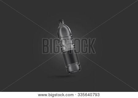 Blank Transparent Plastic Bottle With Black Label Mockup, No Gravity, Dark Background, 3d Rendering.