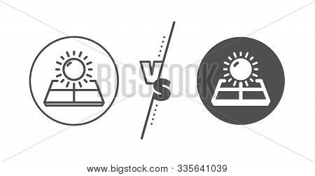 Solar Panels Sign. Versus Concept. Sun Energy Line Icon. Ecology Power Symbol. Line Vs Classic Sun E