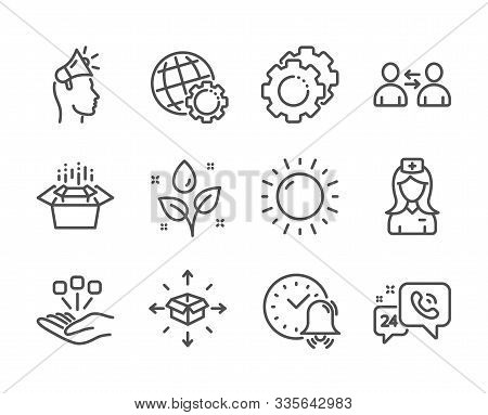 Set Of Business Icons, Such As Packing Boxes, Settings Gears, Hospital Nurse, Sunny Weather, Alarm B